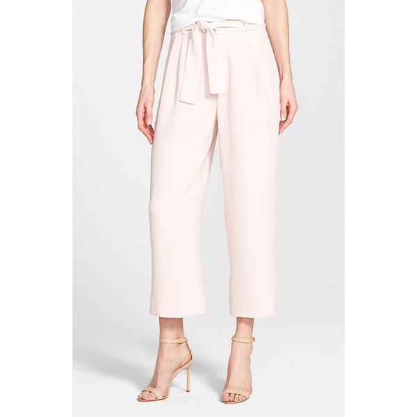 VINCE CAMUTO belted pleat front crop pants - A higher rise balances the cropped length of flattering...