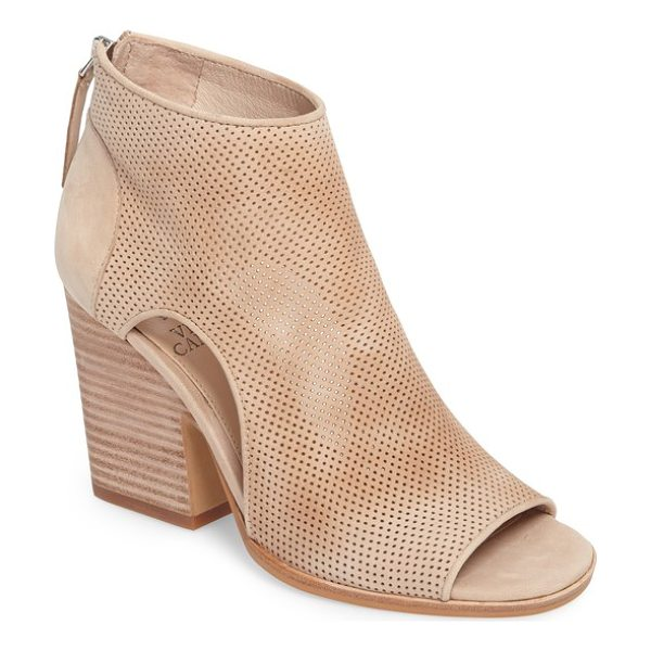 VINCE CAMUTO bevina cutout bootie - A chunky stacked heel lifts a breezy open-toe bootie styled...