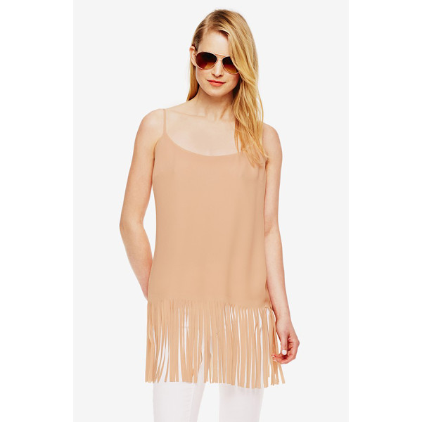 VINCE CAMUTO camisole with fringe - A border of swaying fringe gives a trend-right twist to a...
