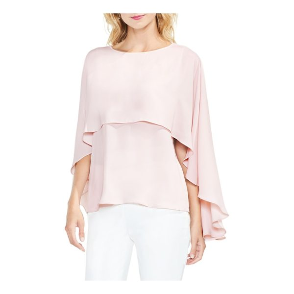 VINCE CAMUTO cape overlay blouse - Move elegantly with every step in this fluid blouse...