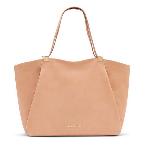 VINCE CAMUTO Carin top zip leather tote - Gilded hardware highlights the supple leather construction...