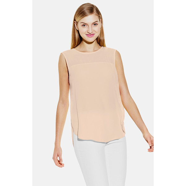 VINCE CAMUTO chiffon yoke sleeveless blouse - A sheer chiffon yoke adds pretty contrast to a floaty...