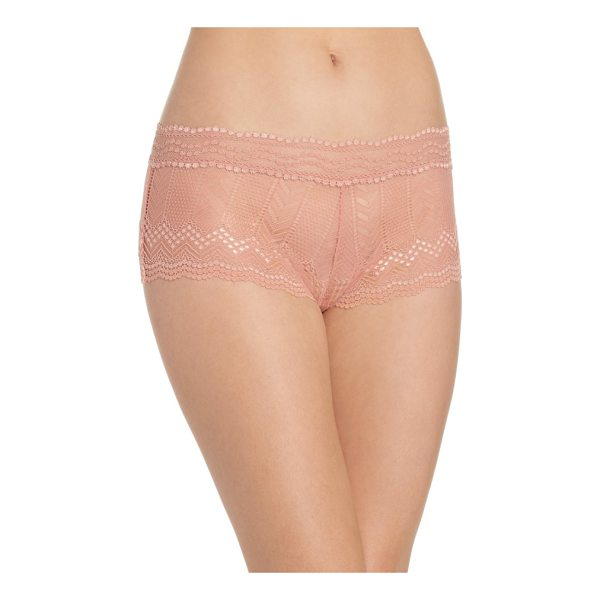 VINCE CAMUTO colette boyshorts - Sheer, chevron-patterned lace puts a modern twist on a...