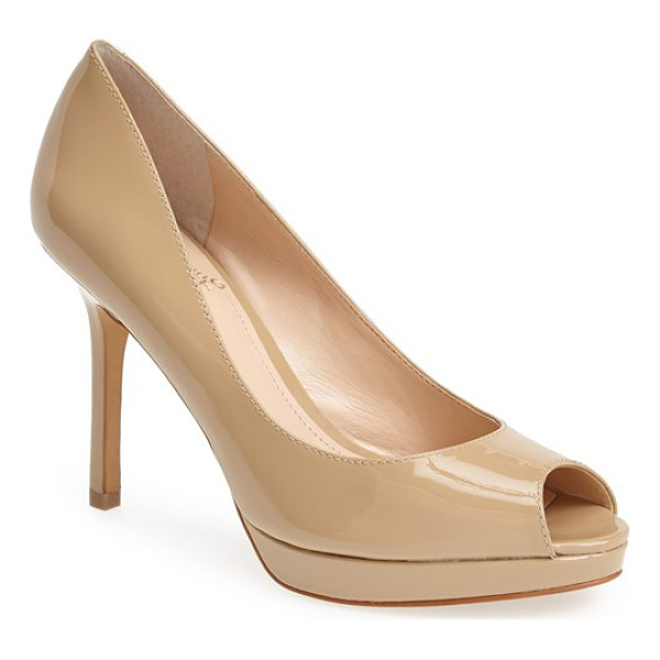 VINCE CAMUTO coper peep toe leather pump - Liquid-shine patent leather highlights the sleek curves of...