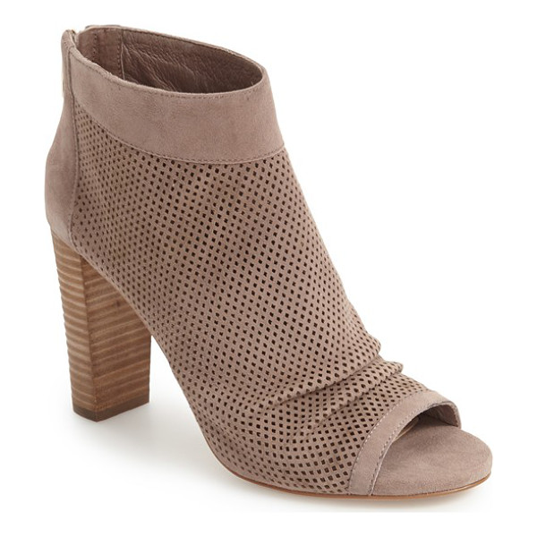 VINCE CAMUTO cosima open toe bootie - Graceful pleats and tiny laser perforations enhance the...