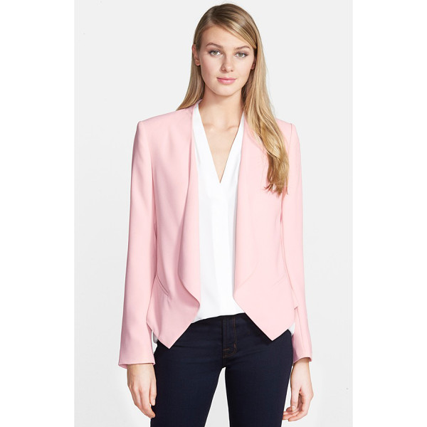 VINCE CAMUTO drape front blazer - An open, draped front adds soft ease to a tuxedo-style...