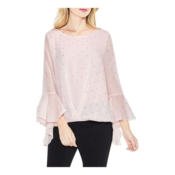 VINCE CAMUTO gilded diamonds bell sleeve top - Flowing with enchanting elegance, this lovely chiffon...