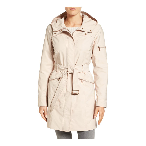 VINCE CAMUTO hooded belted trench coat - An attached hood and a handful of pockets define the...