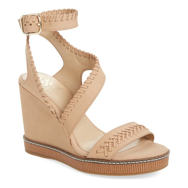 VINCE CAMUTO ivanta wedge - Tonal whipstitching and a curved strap define a leather...