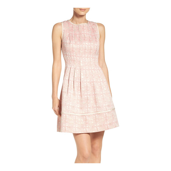 VINCE CAMUTO jacquard fit & flare dress - A striking woven jacquard pattern elevates a sleeveless...