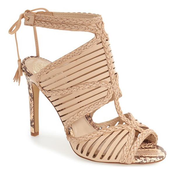 VINCE CAMUTO kabira strappy sandal - Laser-cut straps framed by sinuous braiding embrace the toe...