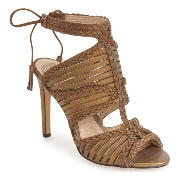 VINCE CAMUTO 'kabira' strappy sandal - Laser-cut straps framed by sinuous braiding embrace the toe...