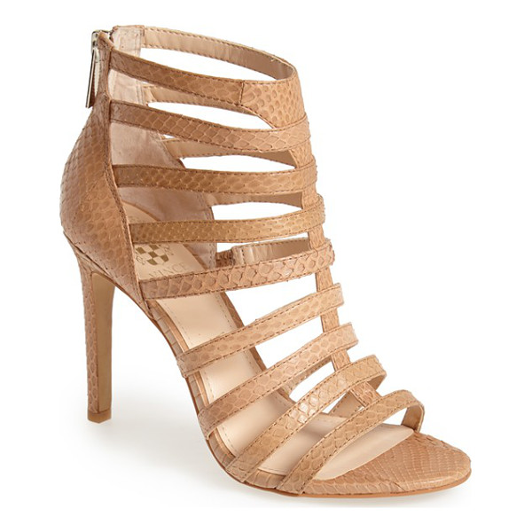 VINCE CAMUTO kamella snake embossed leather caged sandal - Strappy styling and snake-embossing make this supple...