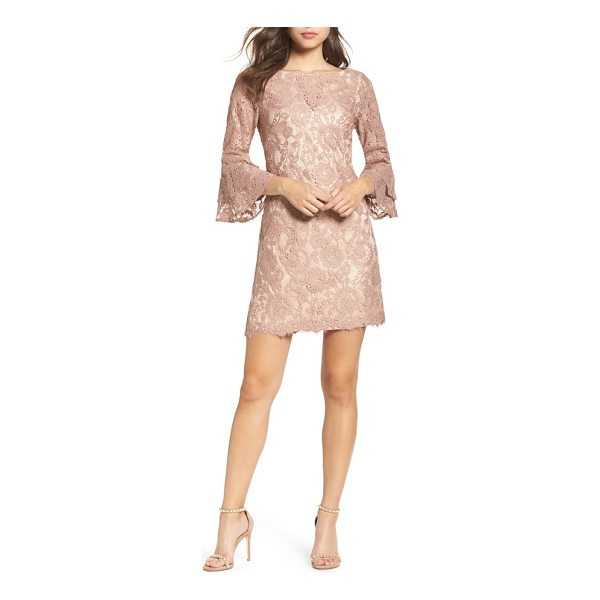 VINCE CAMUTO lace bell sleeve dress - A classic shift gets a chic update from floral lace and...