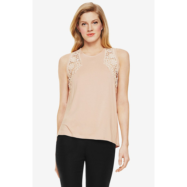 VINCE CAMUTO lace inset sleeveless top - Delicate lace insets put an elegant face on a soft jersey...