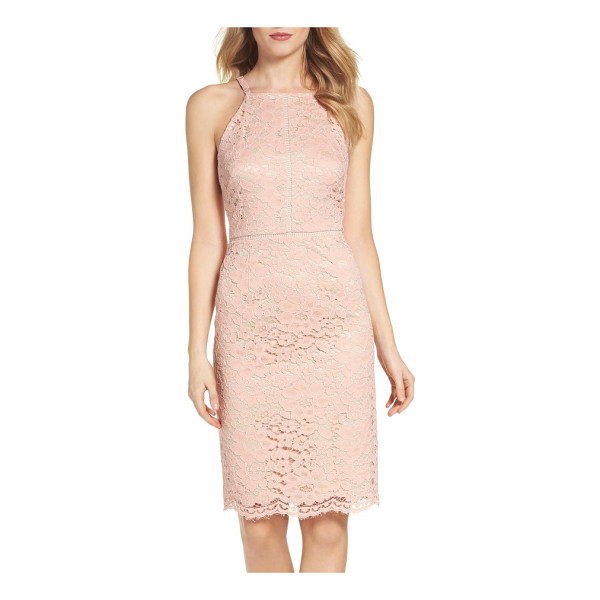 VINCE CAMUTO lace sheath dress - Floral lace softens the smart silhouette of this pencil...
