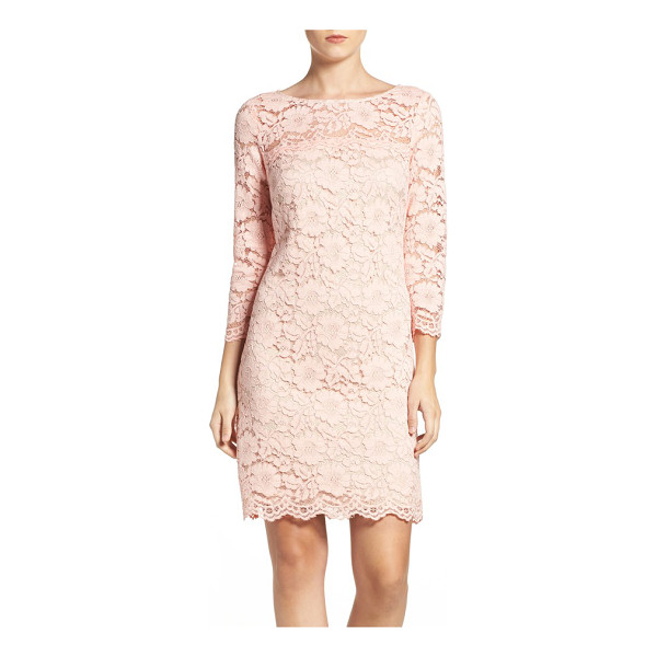 VINCE CAMUTO petite   lace sheath dress - Sheer shoulders and sleeves elevate the romance of this...