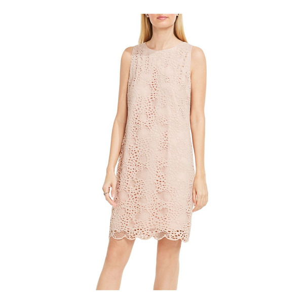 VINCE CAMUTO lace shift dress - A streamlined, curve-skimming silhouette balances the...