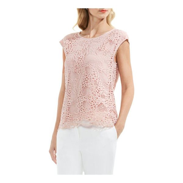 VINCE CAMUTO lace top - An understated beauty, this cotton-blend top balances...
