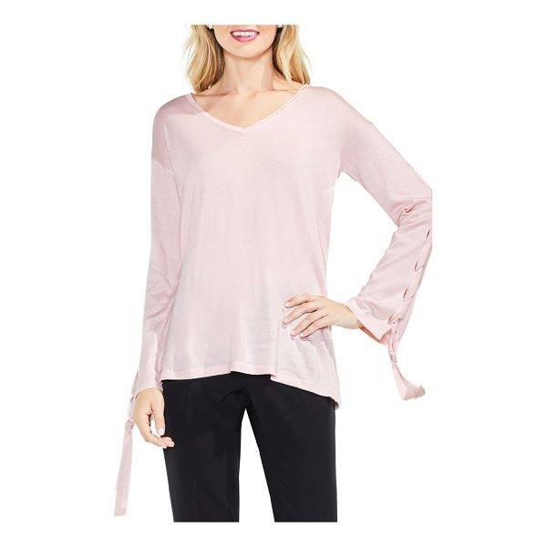 VINCE CAMUTO lace-up bell sleeve sweater - Slightly flared sleeves laced up with twisted ties bring...