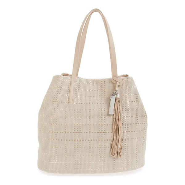 VINCE CAMUTO Leather tote - A woven metallic finish adds impeccable modern flair to a...