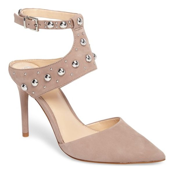 VINCE CAMUTO ledana studded pump - Polished dome studs punctuate the edgy, cutout straps of an...