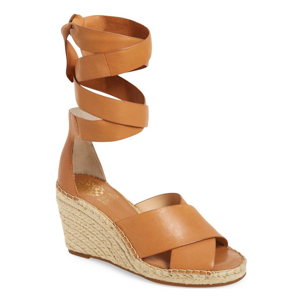 VINCE CAMUTO leddy wedge sandal - A braided, jute-wrapped wedge lifts a trendy lace-up sandal...