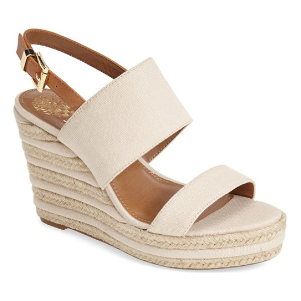 VINCE CAMUTO loran wedge sandal - A lofty jute-and-leather trimmed wedge balances an...