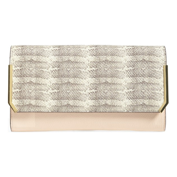 VINCE CAMUTO Mae clutch - Contemporary, mixed-finish color blocking lends an exotic...