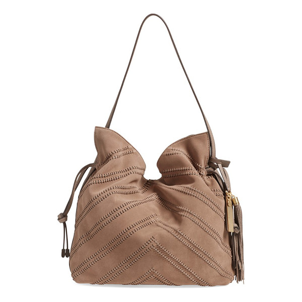 VINCE CAMUTO Nella leather hobo bag - Whipstitched chevrons detail a buttery-soft suede front...