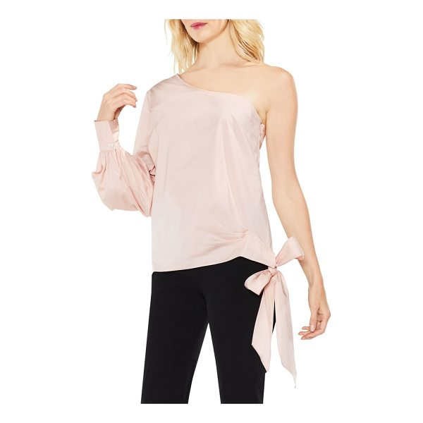 VINCE CAMUTO one-shoulder side-tie poplin top - A crisp, stretch-woven blouse dips off the shoulder and...