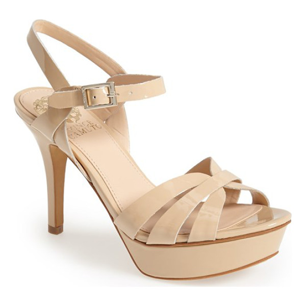VINCE CAMUTO peppa ankle strap leather platform sandal - Glossy leather straps cross and intertwine on this...