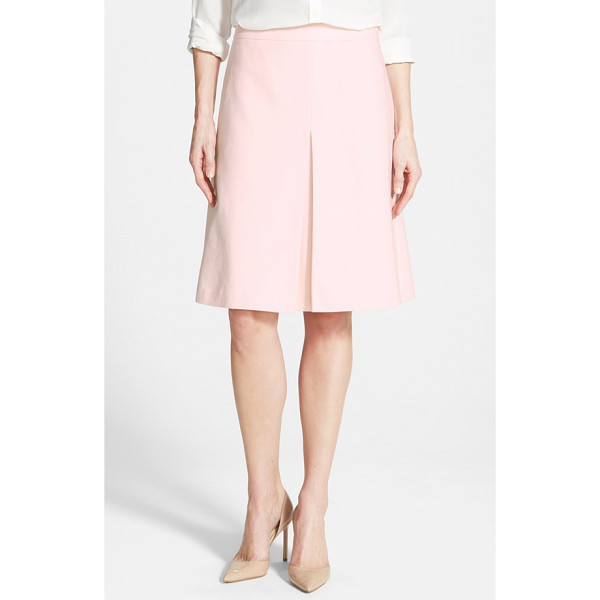 VINCE CAMUTO pleat front a-line skirt - A stretch-cotton skirt in a classic A-line silhouette gets...