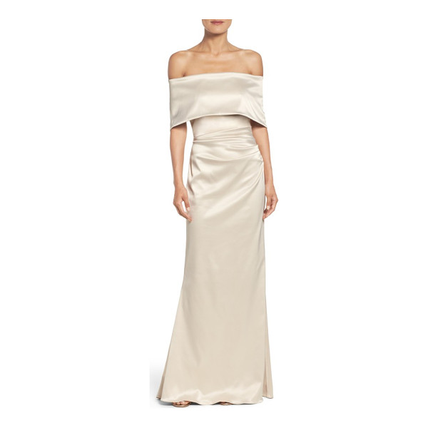 VINCE CAMUTO off the shoulder gown - Lustrous satin multiplies the glamour of this ruched,...