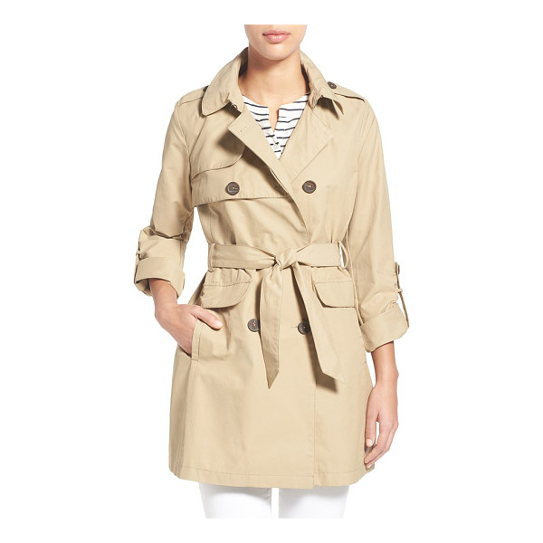 VINCE CAMUTO roll sleeve double breasted trench coat - Button tab-rolled sleeves relax the polished look of a...