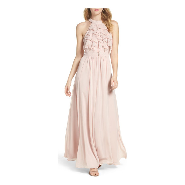 VINCE CAMUTO ruffle high neck gown - This high-neck gown, ruffled to perfection, will float...