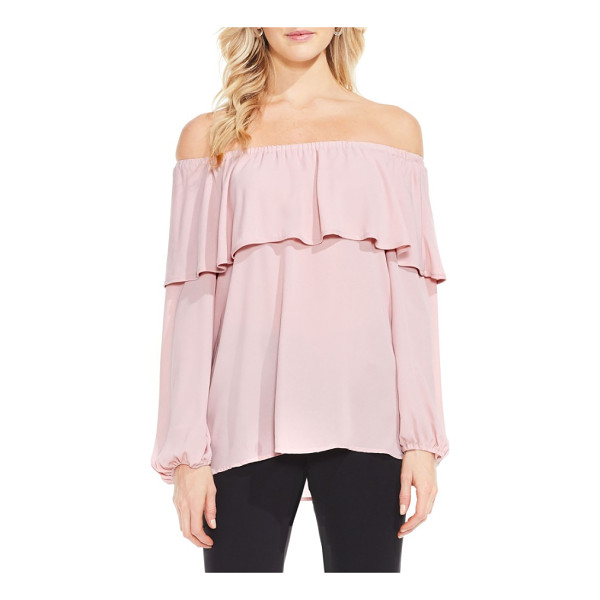 VINCE CAMUTO ruffle off the shoulder blouse - Bold black piping trims the ruffled, off-the-shoulder...