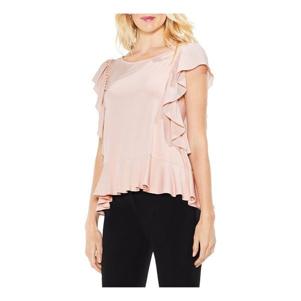VINCE CAMUTO ruffle sleeve mix media top - Ruffled sleeves and mixed textures add romantic allure to...