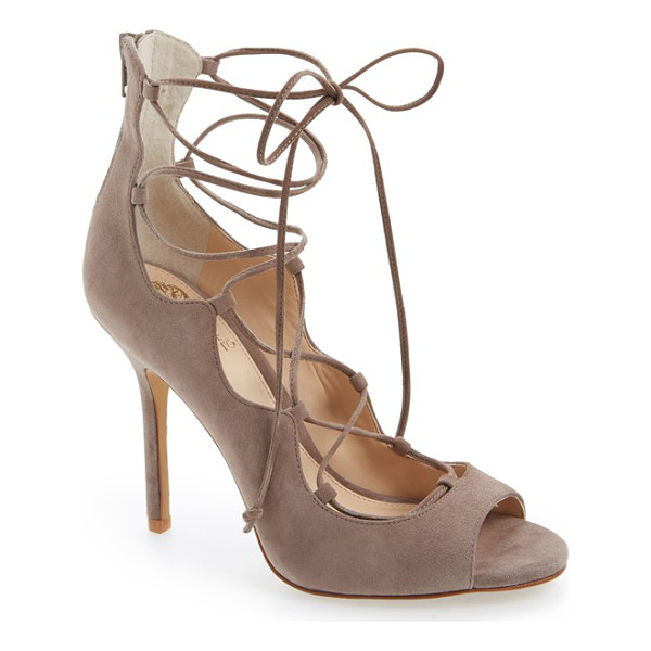 VINCE CAMUTO sandria peep toe ghillie sandal - Buttery soft suede refines an essential going-out sandal,...