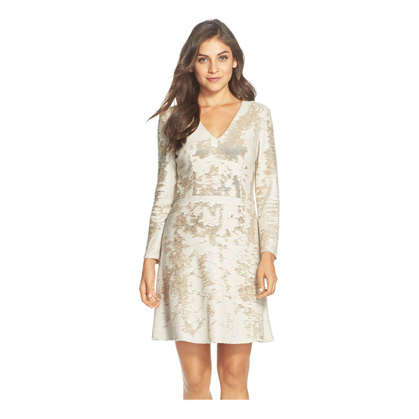 VINCE CAMUTO sequin fit & flare dress - A medley of white and gold sequins pattern a long-sleeve...