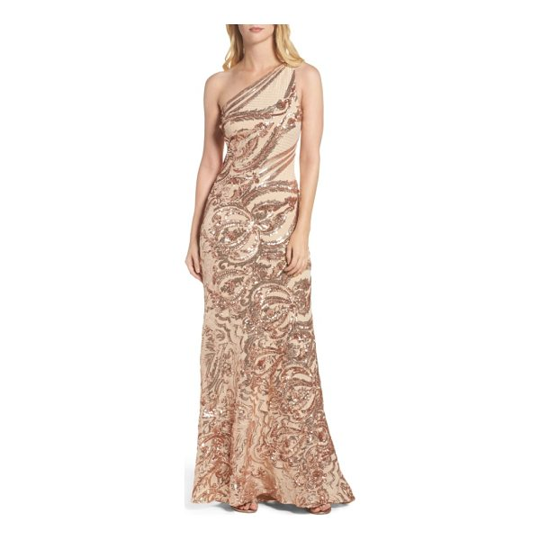 VINCE CAMUTO sequin one-shoulder gown - Glimmering metallic sequins and lattice embroidery trace...