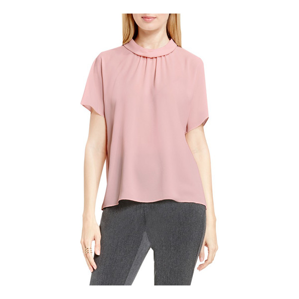 VINCE CAMUTO shirred mock neck blouse - Soft gathers and fluttery short sleeves enhance the...