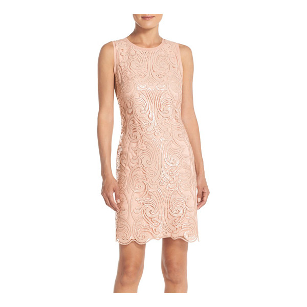 VINCE CAMUTO sleeveless sequin fit & flare dress - Scrolling tonal sequins catch the light in intricate...