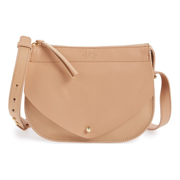 VINCE CAMUTO Small auden leather crossbody bag - A goldtone logo medallion shines against the smooth leather...