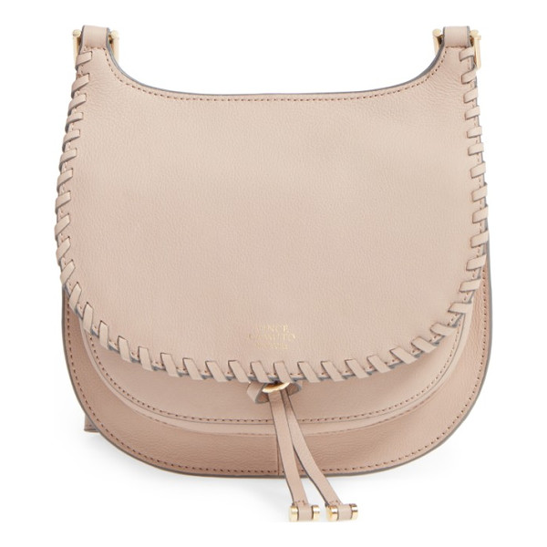 VINCE CAMUTO small lidia leather crossbody bag - Whipstitch trim adds a subtle touch of vintage style to a