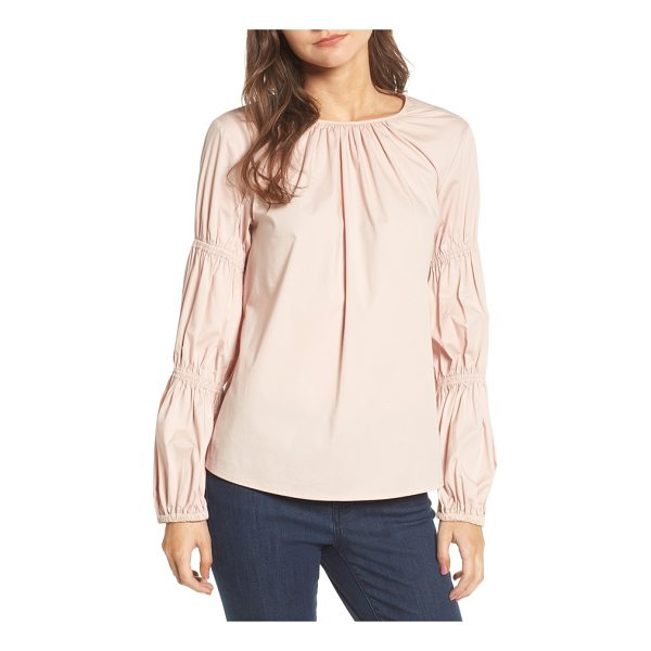 VINCE CAMUTO smocked poplin shirt - Pretty tucked pleats, rippling ruching and sweet smocking...