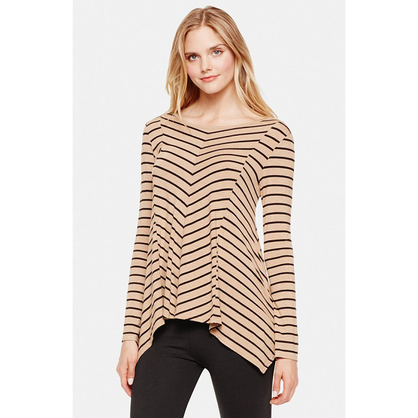 VINCE CAMUTO stripe asymmetrical hem top - Striped patterning accentuates the flattering paneled...