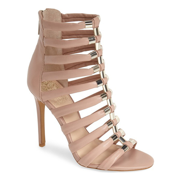 VINCE CAMUTO troy gladiator sandal - Gilt hardware accentuates the laddered silhouette of a...