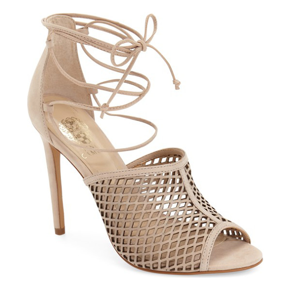 VINCE CAMUTO vasha lace-up sandal - A diamond-cutout upper intensifies the sultry appeal of an...