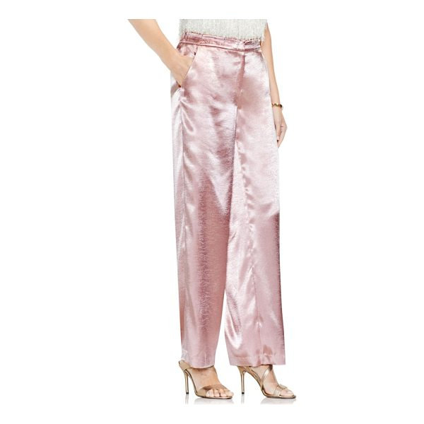 VINCE CAMUTO wide leg hammered satin pants - Slip into the season's festive shine with these chic and...